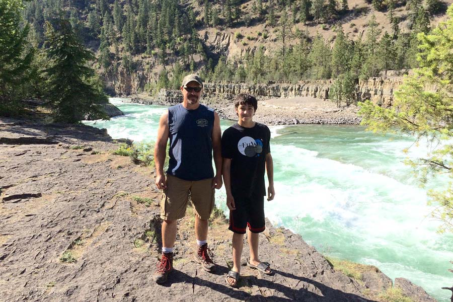 Jim Webley and son at Kootenai Falls